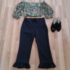 Zara Ruffle Cropped Black Dressy Pants